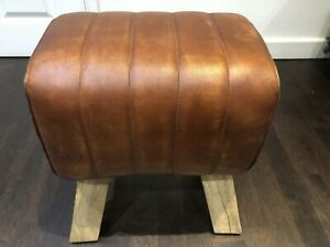 Light  Brown Vintage Style 'Pommel Horse' Leather Foot Stool 47cm High