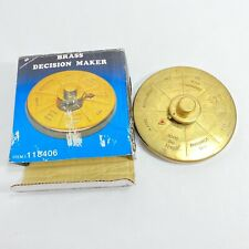Vtg brass round PAPERWEIGHT DECISION MAKER office 70's spinner humor boss gift
