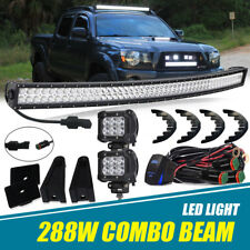 "FIT Nissan Frontier 2004-2013 50"" Curved Upper Roof LED Light Bar+4"" Pods Cube"