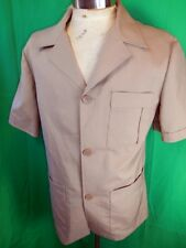 Vintage 60s 70s Leisure Master Tan Brown Poly Short Sleeve Safari Style Jacket M