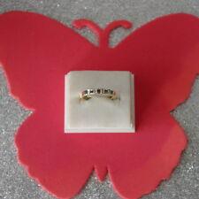 BEAUTIFUL417/10K YELLOW GOLD CEYLON BLUE SAPPHIRE & DIAMOND BAND RING SIZE O12
