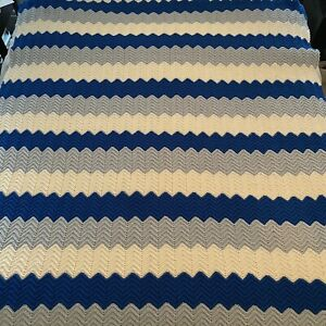 "Cotton Afghan Blanket Throw Knit Royal Blue, Light Blue, White Boys Room 71""x60"""