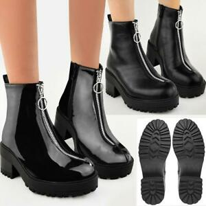 Womens Chunky Zip Up Ankle Boots Grip Sole Winter Warm Block Heel New Size UK