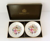 Vintage Royal Worcester Bone China Set of 2 Roses Trinket Dishes Made In England