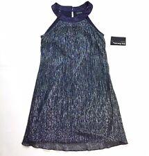 En Focus Metallic Blue Silver Sleeveless Sheath Mini Dress Size 4 Petite New