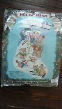 Bucilla 60707 Snowman & Animals 18in Christmas Stocking Needlepoint Kit Vtg