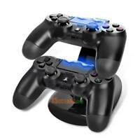 Dual Ladegerät Ständer Station LED Dock Ladestation+USB Kabel für PlayStation 4