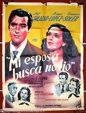 MI ESPOSA BUSCA NOVIO {Abel Salazar} Orig. Mexican Movie Poster 40s