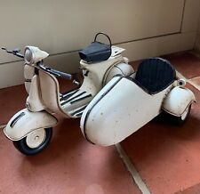 1959 Vespa with sidecar tin plate model white patina finish mods and rockers
