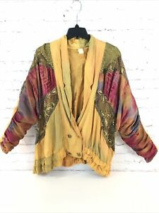 Rare Vintage 80's Womens Multimedia Dolman Sleeve Blazer Jacket