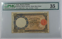 1943-44 Italy Banca d'Italia 50 Lire Note Pick# 66 PMG 35 Choice Very Fine