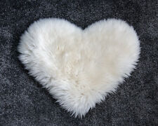Genuine Sheepskin Heart Fur Rug 20inches / 17inches. Creamy White Fur Rug.