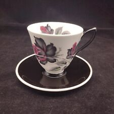 Royal Albert Masquerade Small Coffee Cup & Saucer Black & Pink Roses Gothic