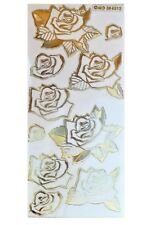 Embossed Roses Peel off Stickers Metallic Gold on Clear Background Flowers