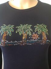 Thermal Cotton Blend Top M Shiny Beads Palm Trees Designer Fashion Hip Young