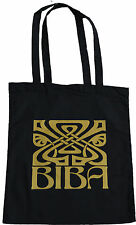 RETRO BIBA LARGE LOGO SHOPPING ECO TOTE BAG 100% BLACK COTTON VINTAGE GOLD PRINT