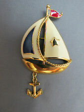 Avon Ship Ahoy Sail Boat Brooch Enamel Red White Blue Anchor Charm Nautical NICE
