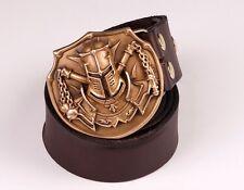 Fine COOL Handmade Bronze Crusaders helmet Men Belt Buckles Cowhide Leather OP94