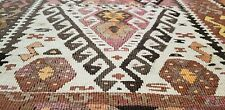 "Pre1900's Antique Natural Dye Brown Wool Bohemian Flat-Woven Kilim 3'10""×15'10"""