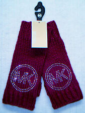 MICHAEL KORS - Women's Fingerless Knit Gloves - FUCHSIA Color Silver MK Logo