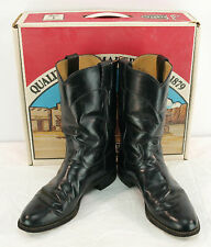 Womens Vintage Justin Roper Cowgirl Boots 9.5 B Black Spanish Kip Leather Usa