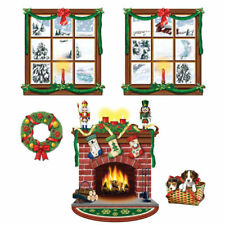 CHRISTMAS INSTA THEME PROPS PARTY WALL DECORATION SCENE SETTER WREATH FIREPLACE