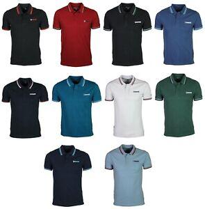 Men's Lambretta Polo Shirt Button Up Collar Neck Sports Tee Casual Logo T-Shirts