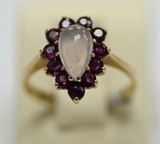 Retro 9k gold Ring with tear shape rose quartz and round rubies, signed, S-7.5