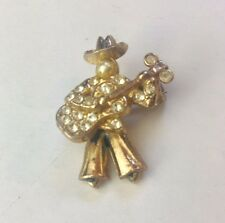 Vintage 40's Art Deco Guitar Player Aericulate Brooch Pin Pearls Gold Rhinestone