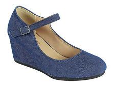 Blue Denim Round Toe Buckle Mary Jane Strap Mid Low Wedge Heel Pump Sandal Shoes