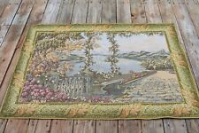 Tapestry Wall Hanging Lined Italian Lake Como Terrace Balcony Scene, self framed