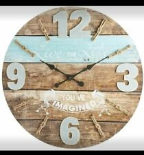 New Rare Pier 1 Oversize Live The Life Nautical Wall Clock Ocean Large Wood