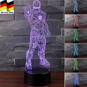 Iron Man Avengers 3D Acryl Lampe LED Nachtlicht 7/16 Farben Tischlampe Geschenk