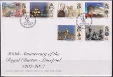 GB  ISLE of MAN 2007 800th Anniversary Royal Charter of Liverpool SG 1367/72 FDC