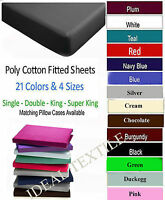 Fitted Sheets Percale Non Iron Single Double King Super King Or Pillow Cases