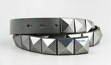 ARMANI EXCHANGE BELT GRAY 100% LEATHER & NICKEL STUDS SIZE 38 NEW
