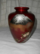 Lovely red Japanese, Asian lacquered vase Mt Fuji