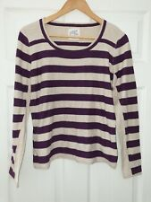 Mantaray 14 Stripe STRIPY striped 100% cotton Jumper purple & beige beautiful