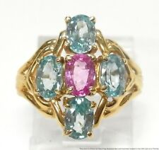 Brand New Natural Blue Zircon Pink Sapphire Ring 14k Gold Fashion Birthstone Sz6