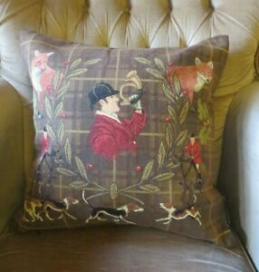 TALLY HO HUNTER BUGLE FOX HUNTING COUNTRY PURSUIT TAPESTRY CUSHION COVER ONLY