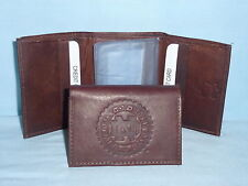 NOTRE DAME FIGHTING IRISH    Leather TriFold Wallet    NEW    dark brown 3v nd