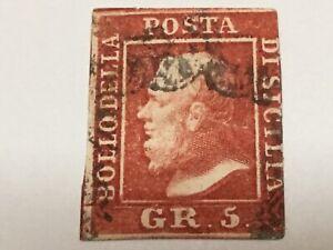old stamp  SICILY 5 gr red