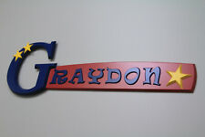 GRAYDON personalized wood name sign room wall décor gift plaque unique teen dorm