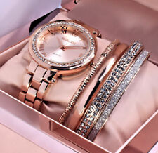 Excellanc Damen Armband Uhr Rose Gold Farben Metall Strass Uhren Geschenkset 2