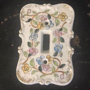 Vintage Ceramic Porcelain Single Light Switch Plate Cover Pink Design Japan