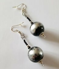 Round Dangle Drop Seed Beaded Earrings New Handmade Black Silver Grey Acrylic