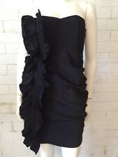 RACHEL GILBERT DESIGNER SEMI FORMAL BLACK FRILL COCKTAIL BUSTIER  DRESS SIZE 2