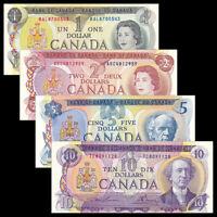 Canada Set 4 PCS, 1 2 5 10 Dollars, 1971-1979, Banknotes, UNC