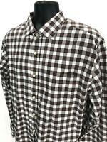 Pronto Uomo BLUE Shirt Mens Size XXL 2XL Red Brown Checked Button Up Long Sleeve