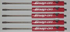 5 Snap on Pocket Screwdriver, PROMO Flat Tip Screwdrivers, RED ~ Magnetic .NEW.